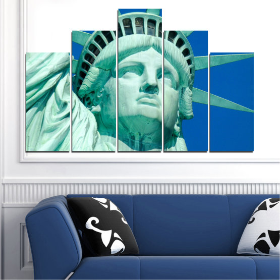 Canvas prints & wall decorative panels - 5 pieces №0540 » Blue, Turquoise, Gray, Dark grey » Landmark, New york, Statue of liberty, Usa Form #5
