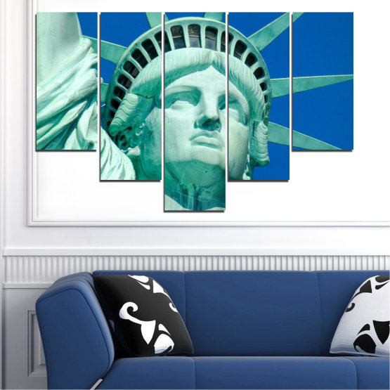 Canvas prints & wall decorative panels - 5 pieces №0540 » Blue, Turquoise, Gray, Dark grey » Landmark, New york, Statue of liberty, Usa Form #6