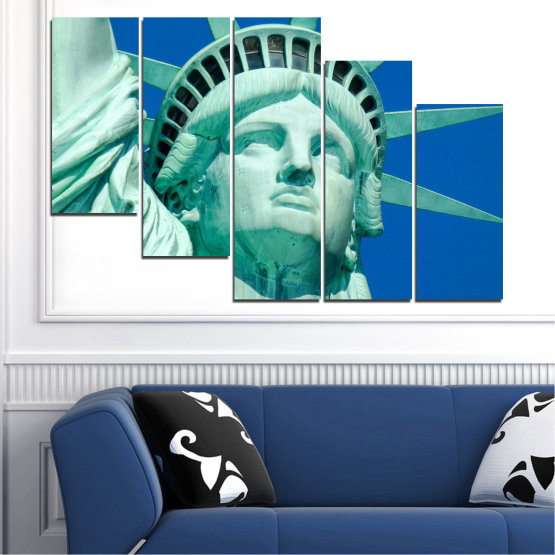 Canvas prints & wall decorative panels - 5 pieces №0540 » Blue, Turquoise, Gray, Dark grey » Landmark, New york, Statue of liberty, Usa Form #7