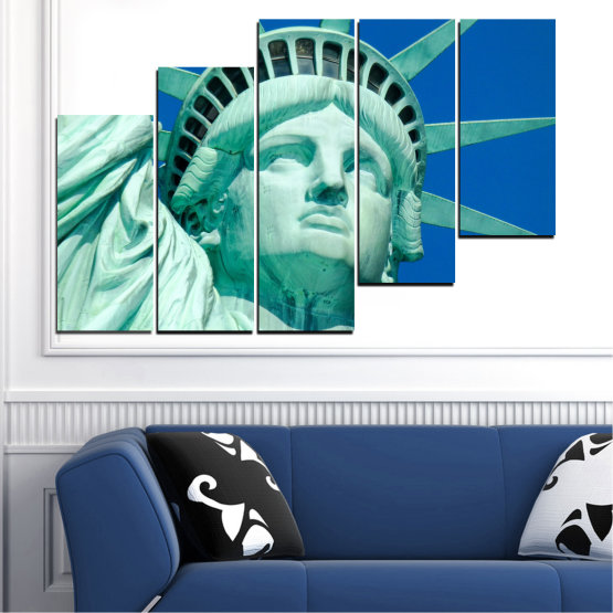Canvas prints & wall decorative panels - 5 pieces №0540 » Blue, Turquoise, Gray, Dark grey » Landmark, New york, Statue of liberty, Usa Form #8