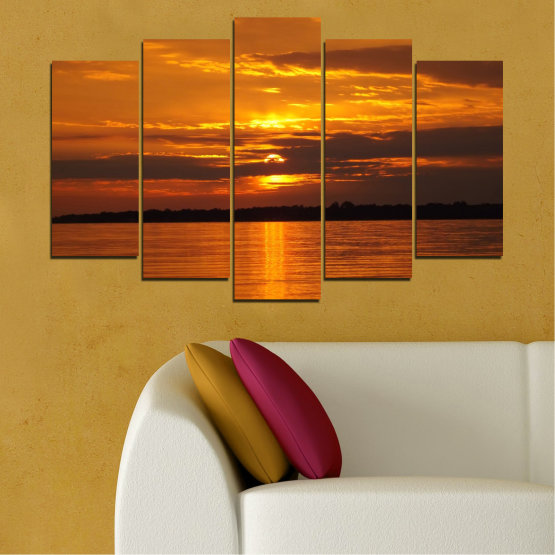 Canvas prints & wall decorative panels - 5 pieces №0541 » Orange, Brown, Black » Water, Landscape, Sea, Sunset, Sun Form #1