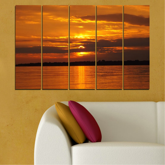 Canvas prints & wall decorative panels - 5 pieces №0541 » Orange, Brown, Black » Water, Landscape, Sea, Sunset, Sun Form #2