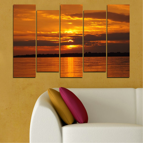 Canvas prints & wall decorative panels - 5 pieces №0541 » Orange, Brown, Black » Landscape, Water, Sea, Sunset, Sun Form #3