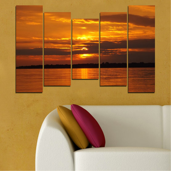 Canvas prints & wall decorative panels - 5 pieces №0541 » Orange, Brown, Black » Landscape, Water, Sea, Sunset, Sun Form #4