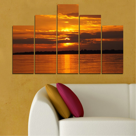 Canvas prints & wall decorative panels - 5 pieces №0541 » Orange, Brown, Black » Water, Landscape, Sea, Sunset, Sun Form #5