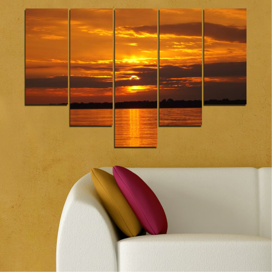 Canvas prints & wall decorative panels - 5 pieces №0541 » Orange, Brown, Black » Landscape, Water, Sea, Sunset, Sun Form #6