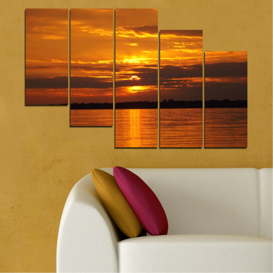 Canvas prints & wall decorative panels - 5 pieces №0541 » Orange, Brown, Black » Water, Landscape, Sea, Sunset, Sun Form #7