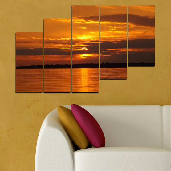 Canvas prints & wall decorative panels - 5 pieces №0541 » Orange, Brown, Black » Landscape, Water, Sea, Sunset, Sun Form #8