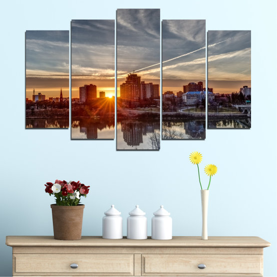 Canvas prints & wall decorative panels - 5 pieces №0542 » Brown, Black, Gray, Dark grey » Water, City, Sunset, Reflection Form #1