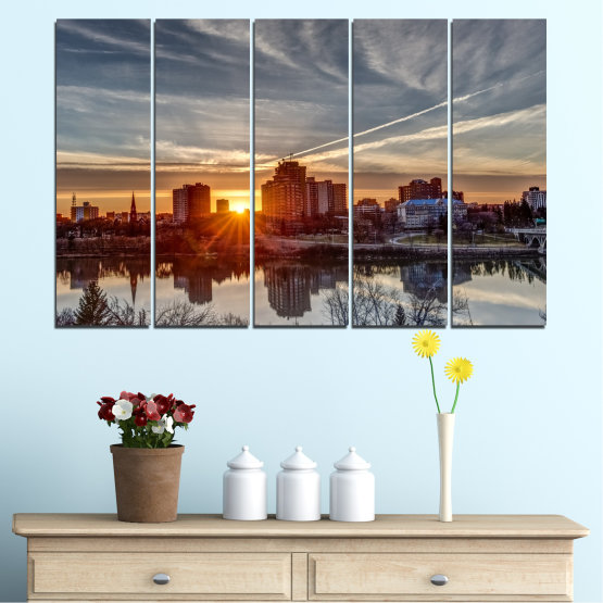 Canvas prints & wall decorative panels - 5 pieces №0542 » Brown, Black, Gray, Dark grey » Water, City, Sunset, Reflection Form #2