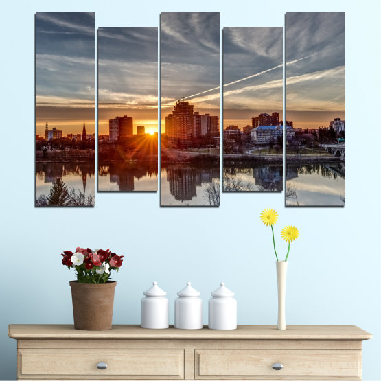 Canvas prints & wall decorative panels - 5 pieces №0542 » Brown, Black, Gray, Dark grey » Water, City, Sunset, Reflection Form #3