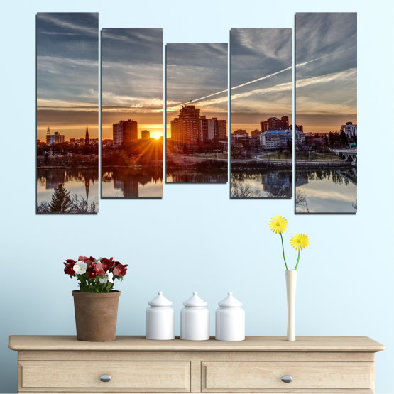 Canvas prints & wall decorative panels - 5 pieces №0542 » Brown, Black, Gray, Dark grey » Water, City, Sunset, Reflection Form #4