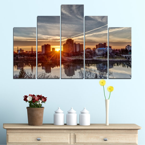 Canvas prints & wall decorative panels - 5 pieces №0542 » Brown, Black, Gray, Dark grey » Water, City, Sunset, Reflection Form #5