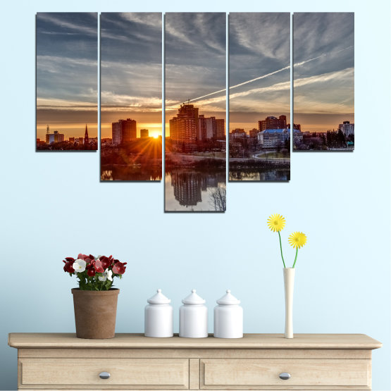Canvas prints & wall decorative panels - 5 pieces №0542 » Brown, Black, Gray, Dark grey » Water, City, Sunset, Reflection Form #6