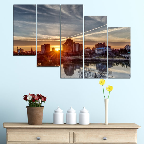 Canvas prints & wall decorative panels - 5 pieces №0542 » Brown, Black, Gray, Dark grey » Water, City, Sunset, Reflection Form #7
