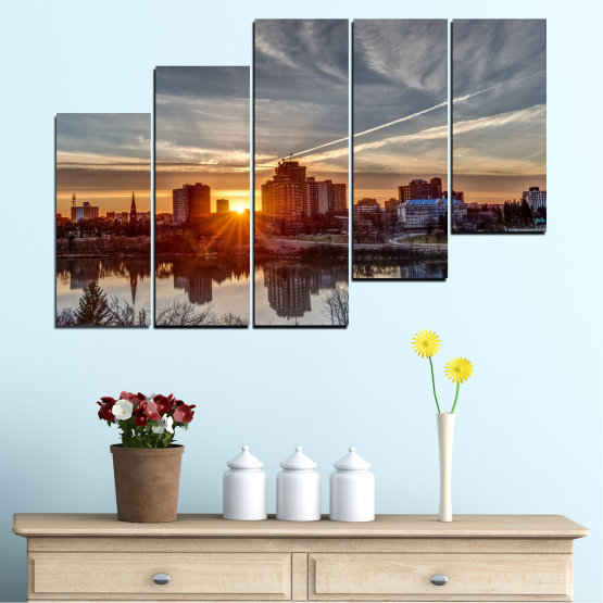 Canvas prints & wall decorative panels - 5 pieces №0542 » Brown, Black, Gray, Dark grey » Water, City, Sunset, Reflection Form #8