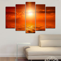 Sea, Landscape, Sunset, Sun, Water » Red, Orange, Brown