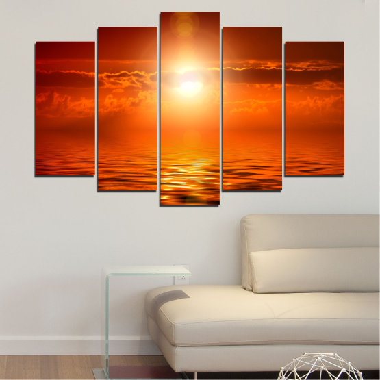 Canvas prints & wall decorative panels - 5 pieces №0543 » Red, Orange, Brown » Landscape, Sea, Water, Sun, Sunset Form #1