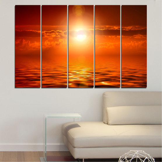 Canvas prints & wall decorative panels - 5 pieces №0543 » Red, Orange, Brown » Landscape, Sea, Water, Sun, Sunset Form #2