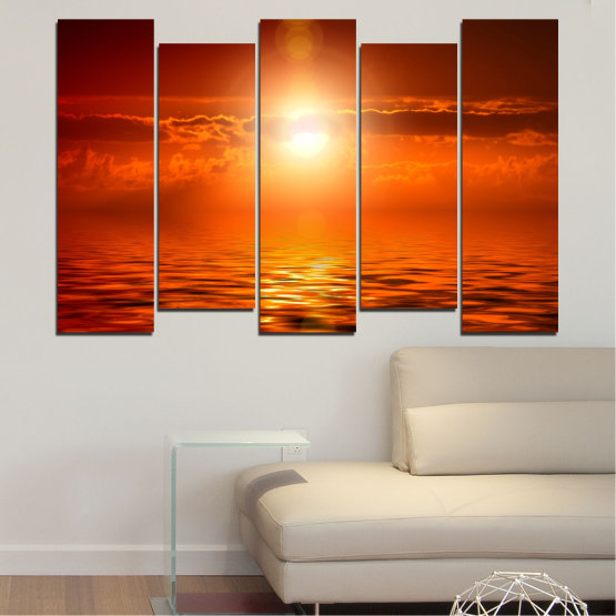 Canvas prints & wall decorative panels - 5 pieces №0543 » Red, Orange, Brown » Landscape, Sea, Water, Sun, Sunset Form #3