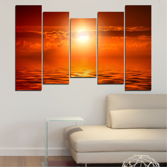 Canvas prints & wall decorative panels - 5 pieces №0543 » Red, Orange, Brown » Landscape, Sea, Water, Sun, Sunset Form #4
