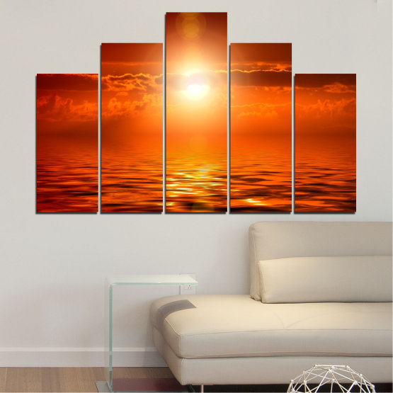 Canvas prints & wall decorative panels - 5 pieces №0543 » Red, Orange, Brown » Landscape, Sea, Water, Sun, Sunset Form #5