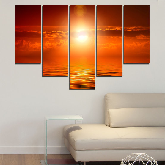 Canvas prints & wall decorative panels - 5 pieces №0543 » Red, Orange, Brown » Landscape, Sea, Water, Sun, Sunset Form #6