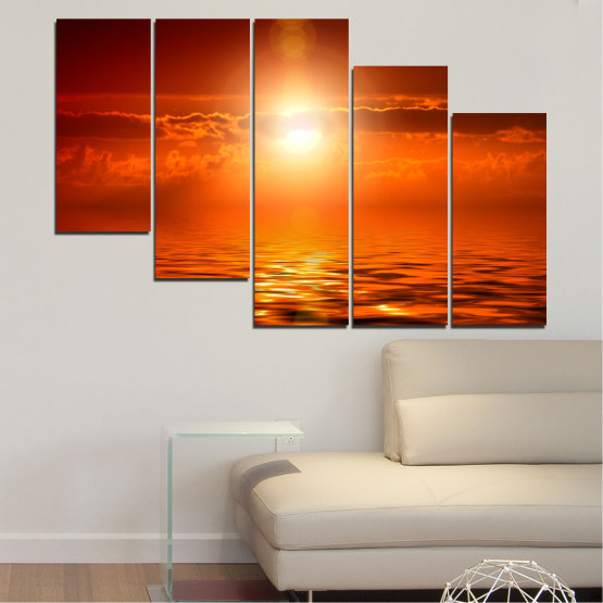 Canvas prints & wall decorative panels - 5 pieces №0543 » Red, Orange, Brown » Landscape, Sea, Water, Sun, Sunset Form #7
