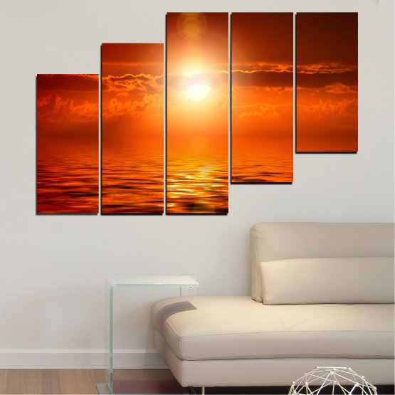 Canvas prints & wall decorative panels - 5 pieces №0543 » Red, Orange, Brown » Landscape, Sea, Water, Sun, Sunset Form #8