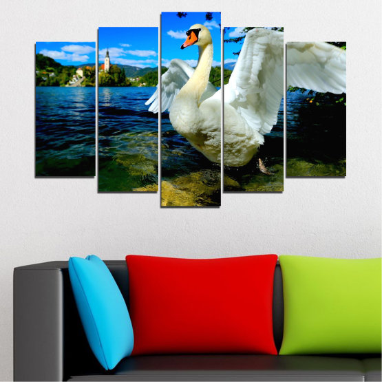 Canvas prints & wall decorative panels - 5 pieces №0544 » Blue, Black, Gray, Dark grey » Nature, Water, Birds, Swan Form #1
