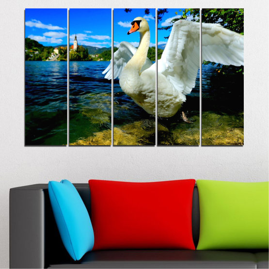 Canvas prints & wall decorative panels - 5 pieces №0544 » Blue, Black, Gray, Dark grey » Nature, Water, Birds, Swan Form #2