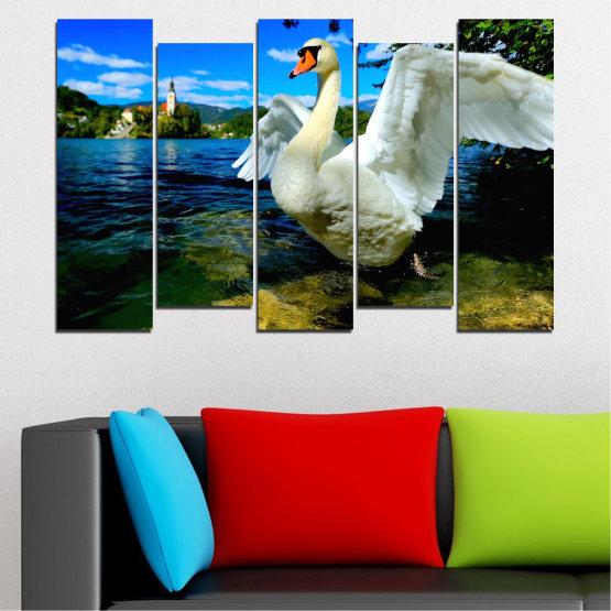 Декоративни панели и картини от канава - от 5 части №0544 » Син, Черен, Сив, Тъмно сив » Природа, Вода, Птици, Лебед Form #3