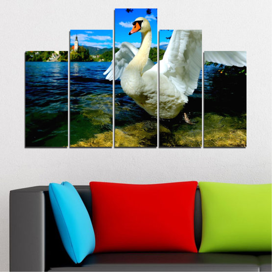 Canvas prints & wall decorative panels - 5 pieces №0544 » Blue, Black, Gray, Dark grey » Nature, Water, Birds, Swan Form #5