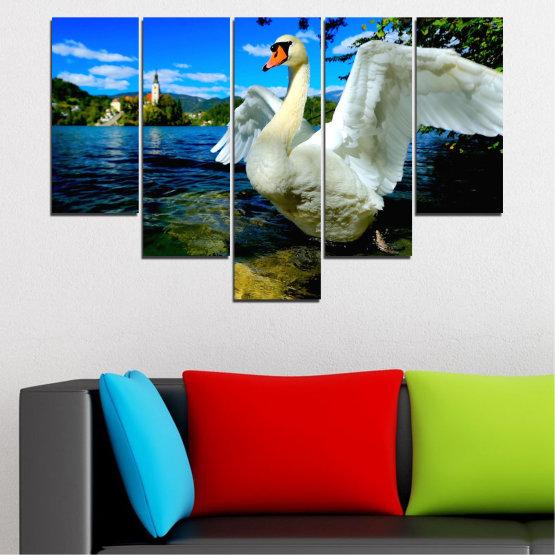 Декоративни панели и картини от канава - от 5 части №0544 » Син, Черен, Сив, Тъмно сив » Природа, Вода, Птици, Лебед Form #6