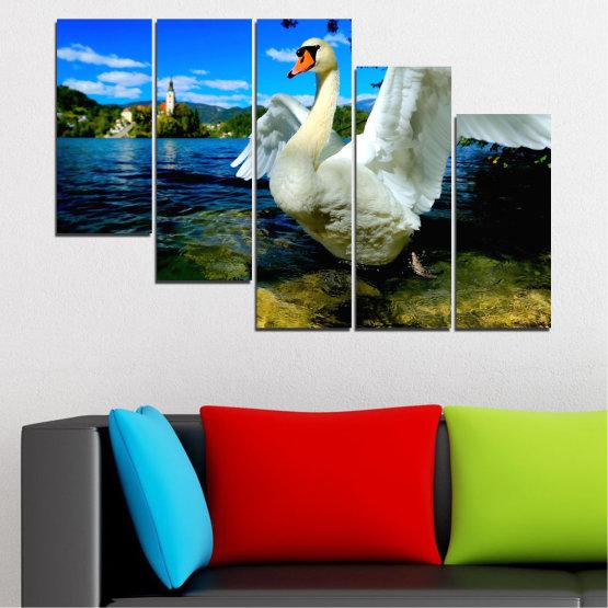 Декоративни панели и картини от канава - от 5 части №0544 » Син, Черен, Сив, Тъмно сив » Природа, Вода, Птици, Лебед Form #7