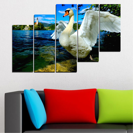 Canvas prints & wall decorative panels - 5 pieces №0544 » Blue, Black, Gray, Dark grey » Nature, Water, Birds, Swan Form #8