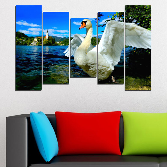 Canvas prints & wall decorative panels - 5 pieces №0544 » Blue, Black, Gray, Dark grey » Nature, Water, Birds, Swan Form #4