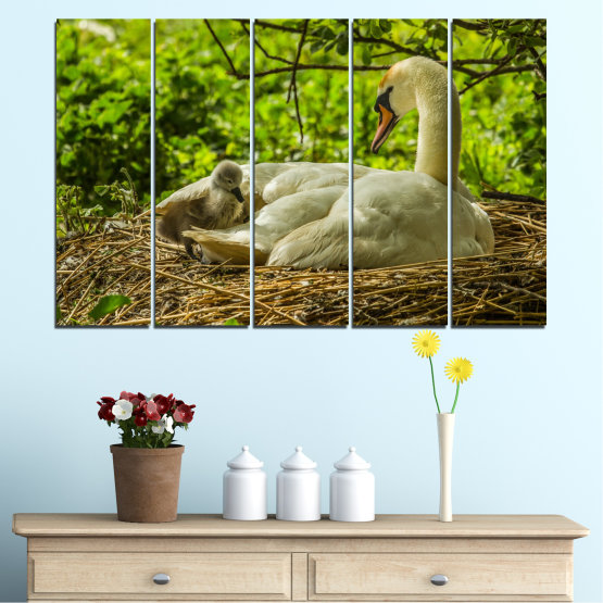 Canvas prints & wall decorative panels - 5 pieces №0545 » Green, Brown » Nature, Birds, Swan Form #2