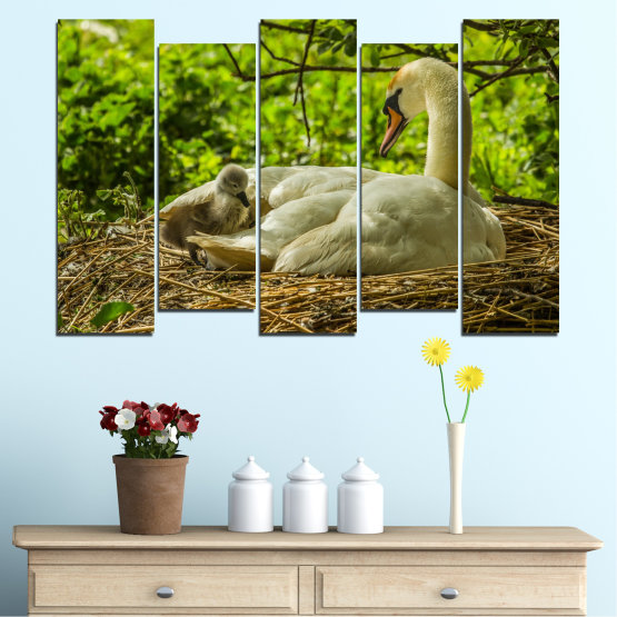 Canvas prints & wall decorative panels - 5 pieces №0545 » Green, Brown » Nature, Birds, Swan Form #3