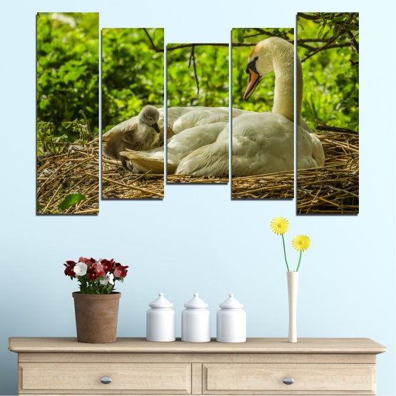 Canvas prints & wall decorative panels - 5 pieces №0545 » Green, Brown » Nature, Birds, Swan Form #4
