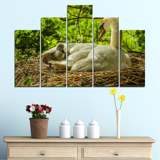 Canvas prints & wall decorative panels - 5 pieces №0545 » Green, Brown » Nature, Birds, Swan Form #5