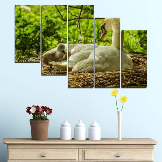 Canvas prints & wall decorative panels - 5 pieces №0545 » Green, Brown » Nature, Birds, Swan Form #7