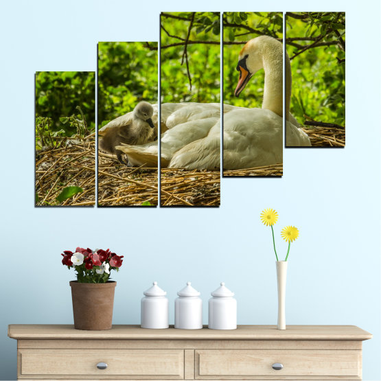 Canvas prints & wall decorative panels - 5 pieces №0545 » Green, Brown » Nature, Birds, Swan Form #8