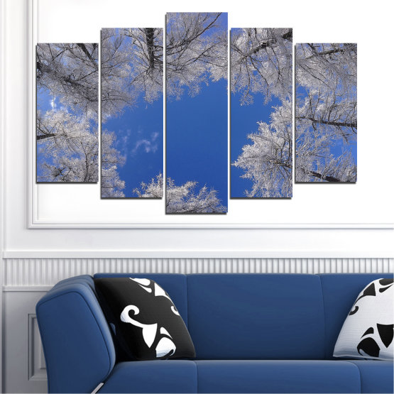 Canvas prints & wall decorative panels - 5 pieces №0546 » Blue, Gray, Dark grey » Forest, Sky, Tree, Winter Form #1