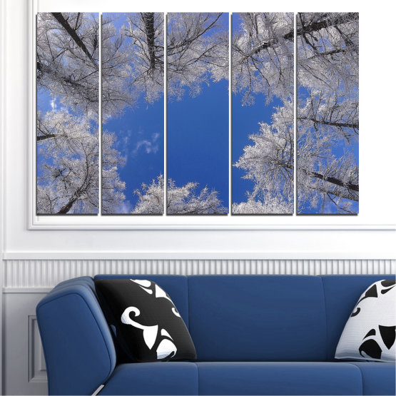 Canvas prints & wall decorative panels - 5 pieces №0546 » Blue, Gray, Dark grey » Forest, Sky, Tree, Winter Form #2