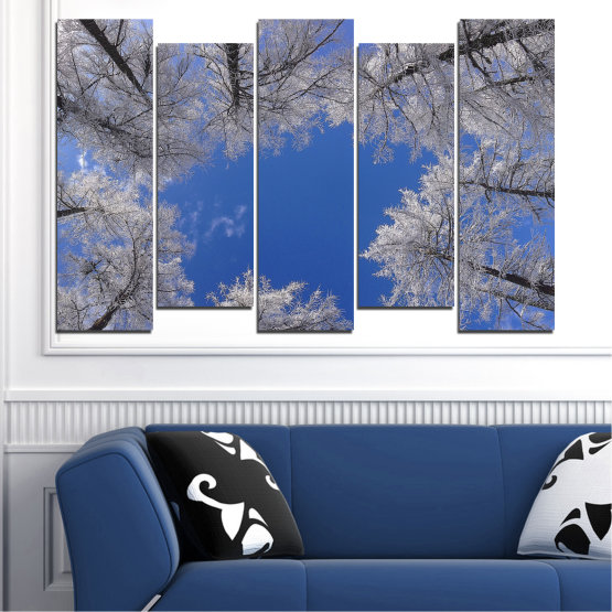 Canvas prints & wall decorative panels - 5 pieces №0546 » Blue, Gray, Dark grey » Forest, Sky, Tree, Winter Form #3