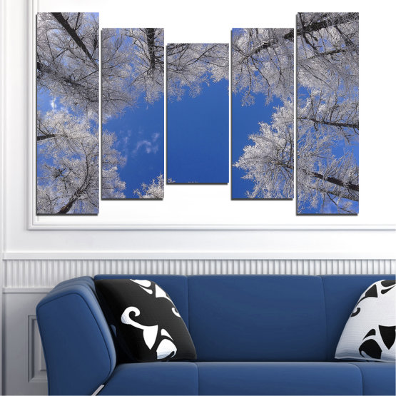 Canvas prints & wall decorative panels - 5 pieces №0546 » Blue, Gray, Dark grey » Forest, Sky, Tree, Winter Form #4