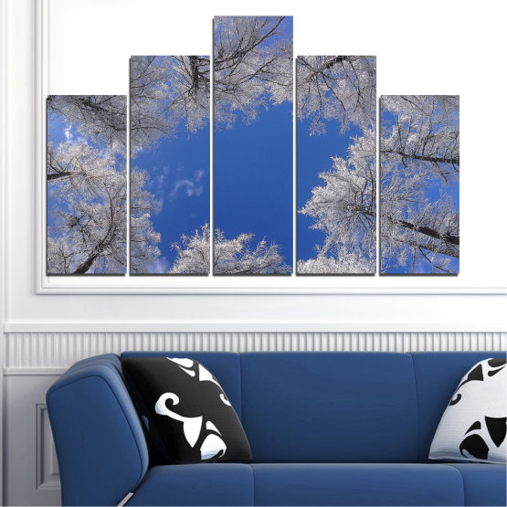 Canvas prints & wall decorative panels - 5 pieces №0546 » Blue, Gray, Dark grey » Forest, Sky, Tree, Winter Form #5