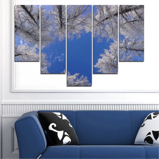 Canvas prints & wall decorative panels - 5 pieces №0546 » Blue, Gray, Dark grey » Forest, Sky, Tree, Winter Form #6
