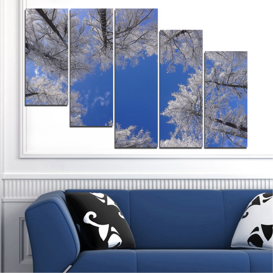 Canvas prints & wall decorative panels - 5 pieces №0546 » Blue, Gray, Dark grey » Forest, Sky, Tree, Winter Form #7